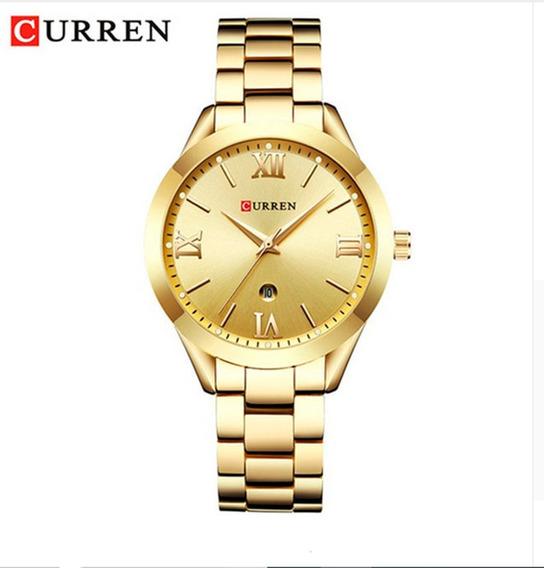 Relógio Feminino Dourado Curren Prova D´água Original Caixa