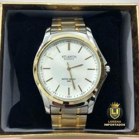 Relógio Masculino Banhado A Ouro E Prata Em Aço Inoxidável