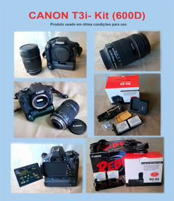 Câmera Canon T3i Kit Lente+ Battery Grip+acessórios