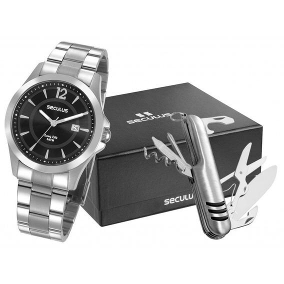 Relógio Seculus Masculino Com Canivete Suiço 28905g0svna1k1