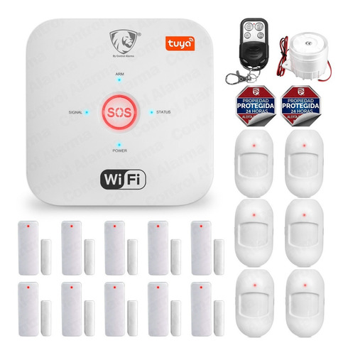 Imagen 1 de 9 de Kit 18 Alarma Wifi Vecinal Google Alexa Tuya Seguridad Casa