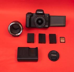 Canon M50 (lente Kit) + Adaptador P/ Lente Eos + Cartão 64gb