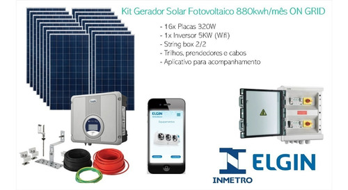 Kit Gerador Solar Fotovoltaico 880kwh/mês On Grid