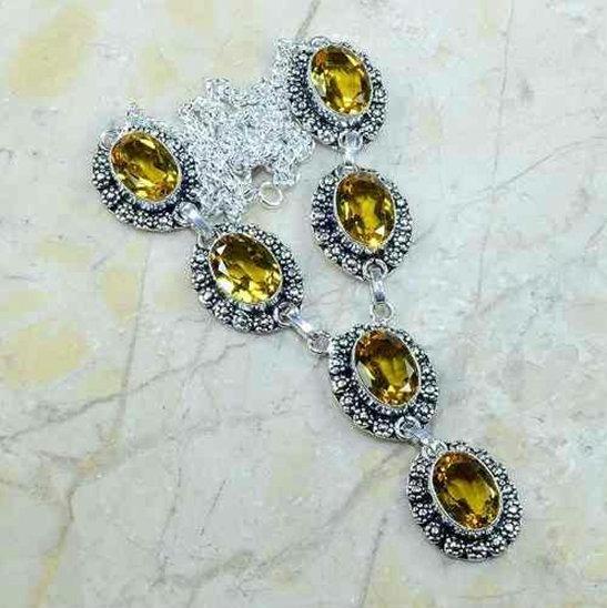 Colar Gargantilha Prata 925 Indiana Pedras Obsidiana Amarelo