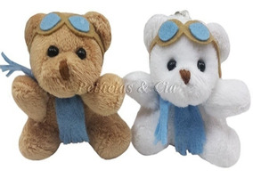 Mini Chaveiro Urso Aviador 6cm - Lembrancinha - Kit 12 Peças