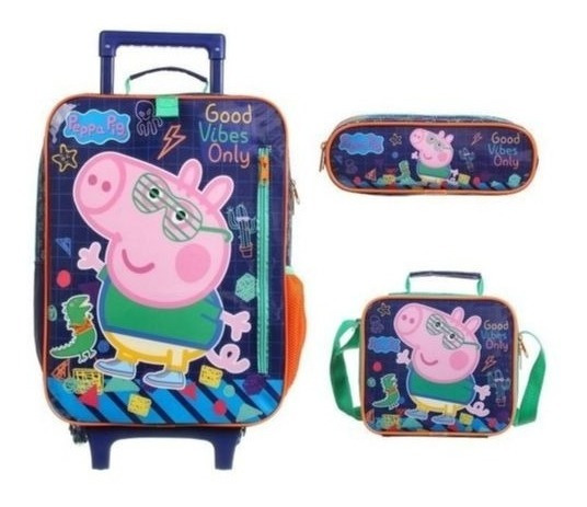 Mochila Escolar Peppa Pig George Lancheira Estojo - Dermiwil