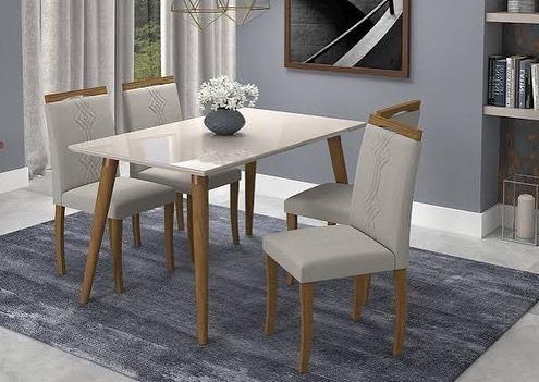 Conj Mesa Adele 130cm C/4 Cadeira Off White Mpntagem Grátis