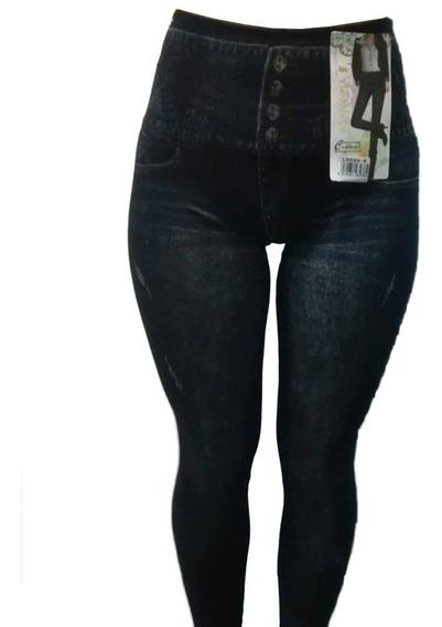 2 Calzas Jeans Micropolar Control Abdomen Moda Regalo Mujer