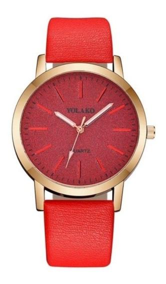 Relógio De Quartzo Feminino Vermelho