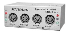Interface Midi/usb 2 Canais 2 Cabos Midi 1 Usb Michael Akm14