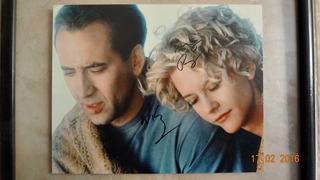 Autografo Nicolas Cage Y Meg Ryan Foto Autografiada Certific