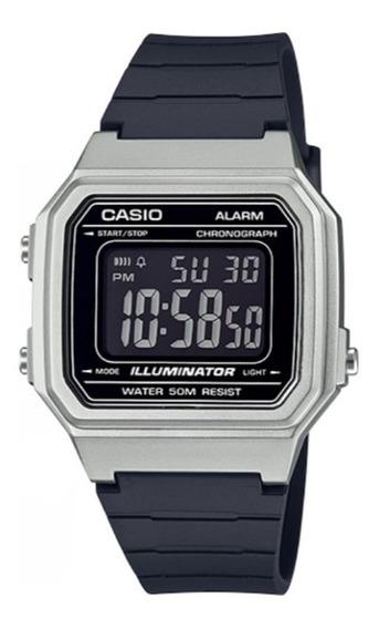 Relógio Masculino Casio Prata E Preto Illuminator W217hm-7bv
