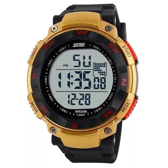 Relógio Skmei 1024 Masculino Anadigi Preto E Dourado