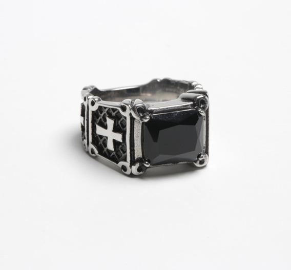 Anel Masculino Prata Com Pedra Preta Em Aço Inoxidável