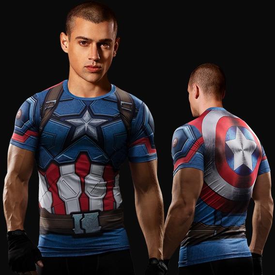 Camiseta Compressao Capitao America Primeiro Vingador Uv Dry
