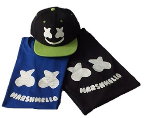 Kit 2 Playeras Niño Marshmello + Gorra