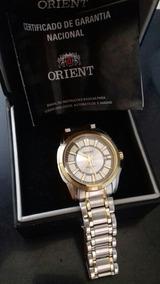 Relógio Orient Prata Detalhes Dourado 100% Original