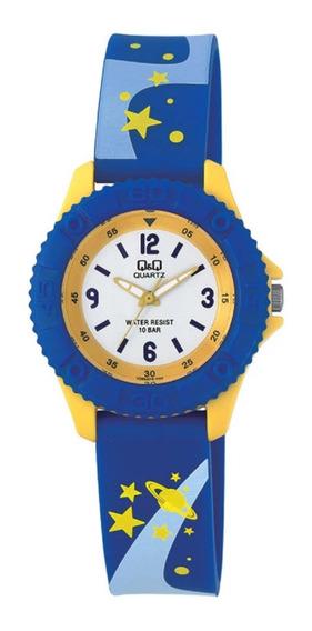 Relógio Masculino Infantil Azul E Amarelo Q&q Prova D
