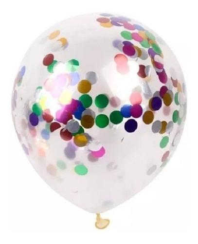 Set 5 Globos Cristal Latex Confetti Multicolor Apto Helio