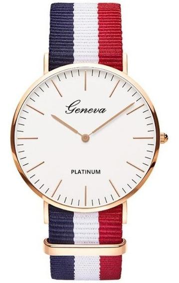 Relógio Feminino Barato Importado Geneva Dourado Listrado