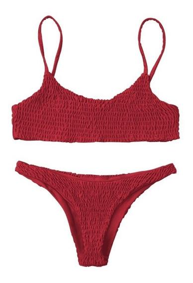 Traje De Baño Plisado Mujer Cintura Baja Varios Colores Sexy Bikini México