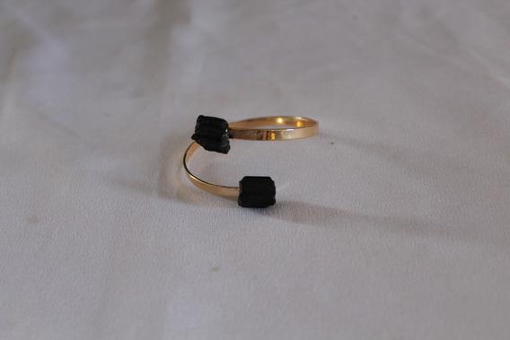 Bracelete Ajustável Banho De Ouro Com Turmalina Negra
