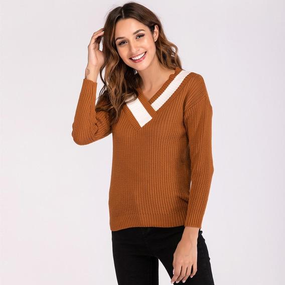 Inverno Mulheres Blusas De Malha Quente Pul?ver Com Decote