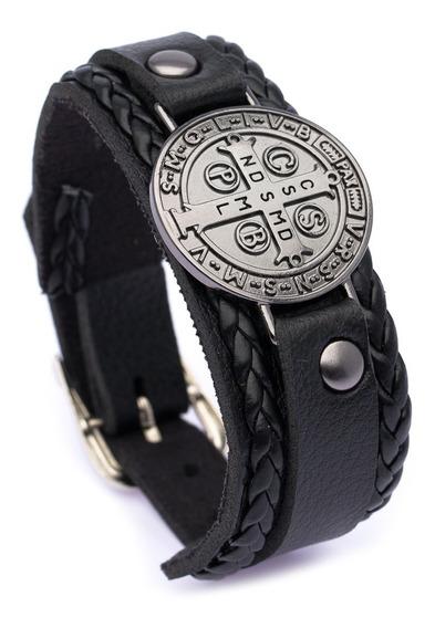 Pulseira Bracelete São Bento J-567 Couro Sintético Regulagem