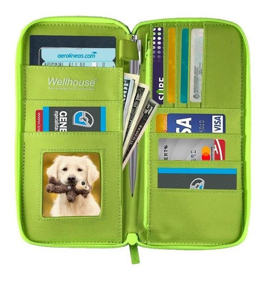 Organizador Viaje Fluo Cod509 Porta Pasaporte Tarjetero