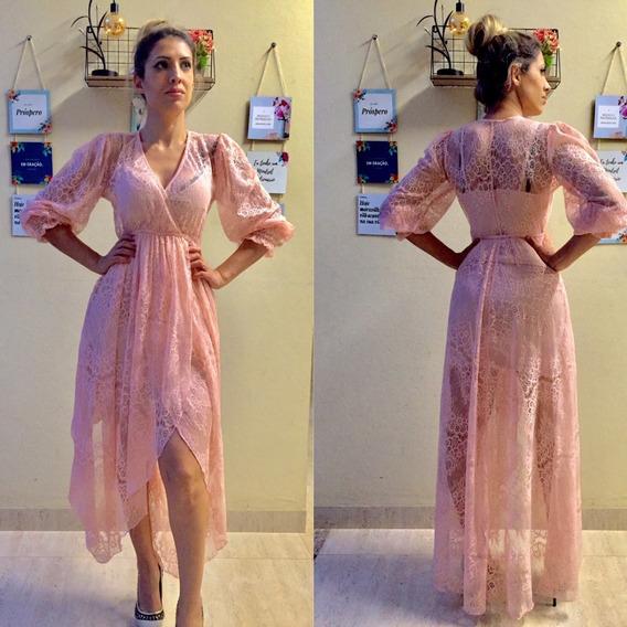 Vestido Em Renda Rosê