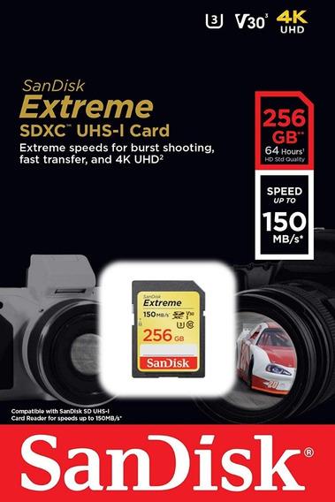 Cartão Sd Sdxc Sandisk Extreme 256gb U3 150mbs Lacrado