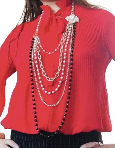 Collar Largo De Moda Para Damas Con Perlas Y Cristales