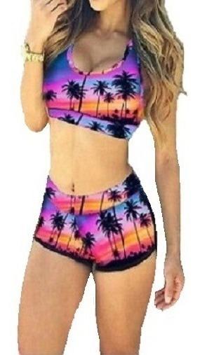 Fabuloso Vintage Traje De Baño Mujer. Bikini Short + Top