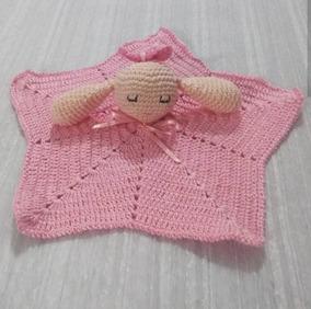 Manta De Apego Naninha Crochê Croche Rosa Crianças Bebês
