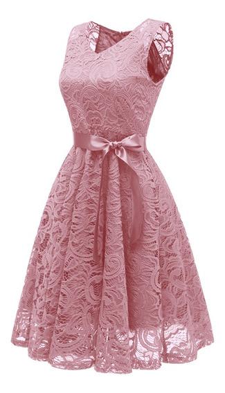 Vestido Elegante De Encaje Con Recortes, Sin Mangas Escote V