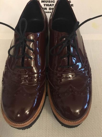 Zapatos Con Plataforma Charol Bordeau!