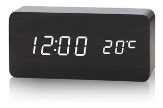 Reloj Digital Led Cubo. De Diseño. Negro Simil Caoba Led Roj
