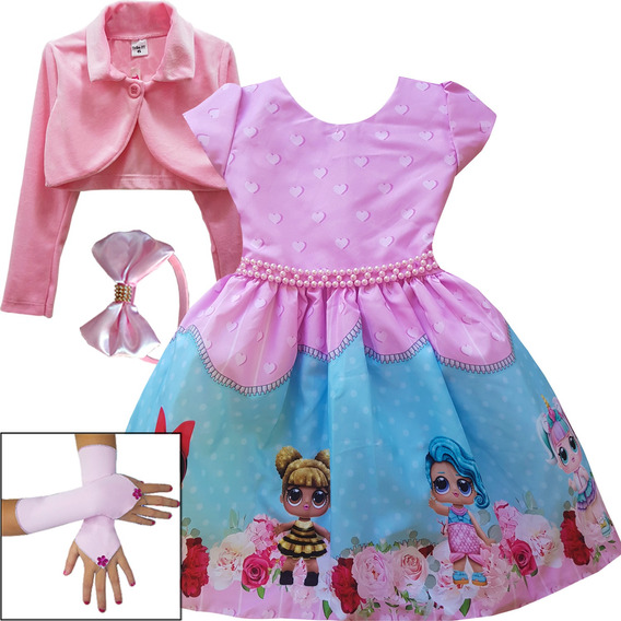 Vestido Boneca Lol Glol 2019 Festa Luxo Infantil Kit