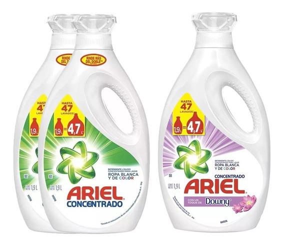 Pack 2 Detergente Ariel 1,9lt + 1 Detergente Ariel Downy 1,9
