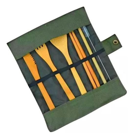 Set De Cubiertos Portatiles De Bambú