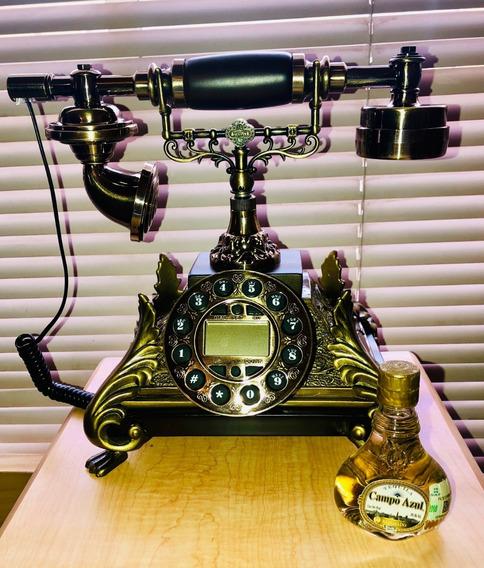 Teléfono Modelo Antiguo Resina Digital 27 Cm Dorado
