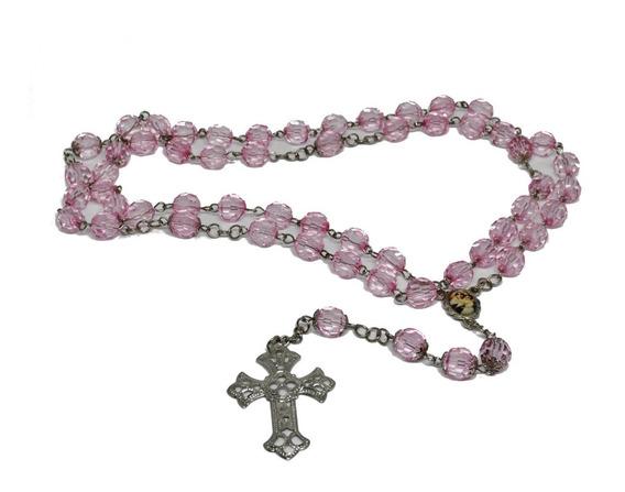 Terço Oração Colar Cordão Crucifixo Nossa Senhora Rosa