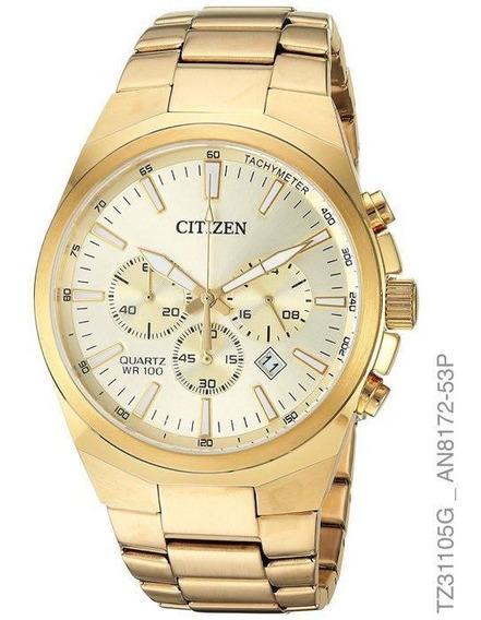 Relogio Masculino Citizen Cronografo Dourado Tz31105g