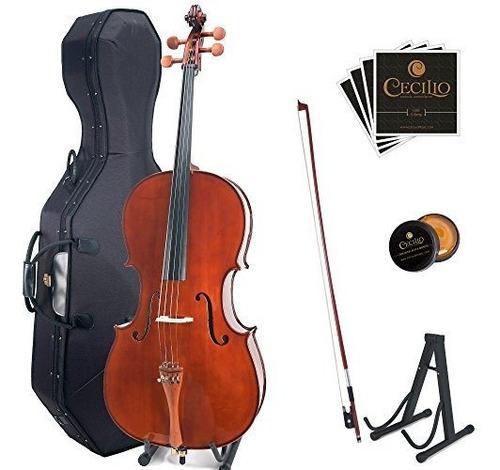 Cello De Madera Maciza Cecilio Cco-300 Con Estuche Rígido