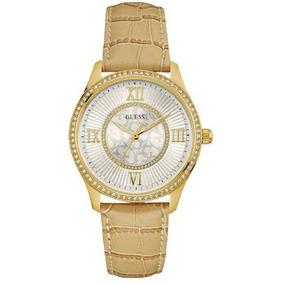 Relógio Feminino Guess 92594lpgddc1 Pulseira De Couro Bege