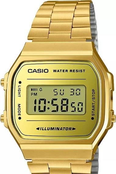 Relógio Casio Unissex Vintage Dourado Quadrado Top
