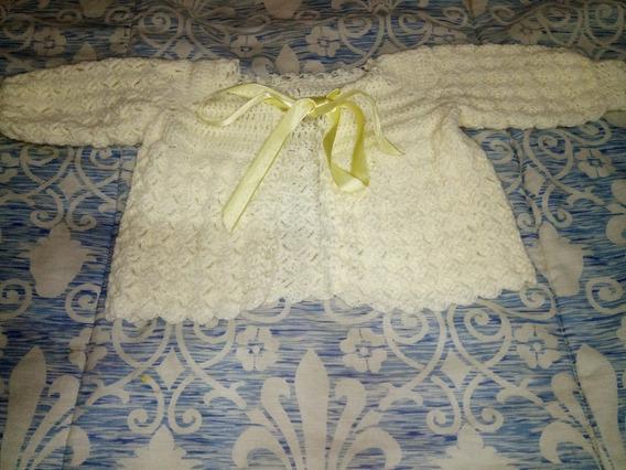 Casaquinho Croche Tricot Feito A Mão Bebe Inverno Creme Novo