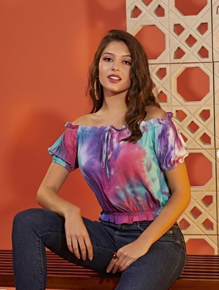 Blusa Cropped Ciganinha Tie Dye Verão 2020