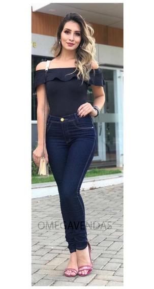 Calça Jeans Feminina Skinny Cintura Alta Hot Pant Laço Flare