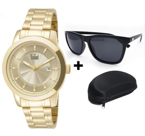 Relógio Dumont Masc. Du2315ba/4d + Brinde Óculos Sol Unissex